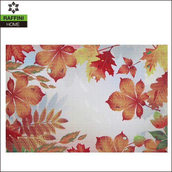 Moderen design printed Red maple leaves vinyl placemat
