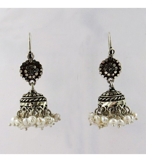 Marcasite Jhumka Pearl Black CZ Gemstone Silver Earring, Oxidized Silver Jewellery, Indian Silver Jewelry