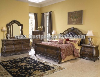 Pakistan Hand Carved Bedroom Furniture Sets Price Solid Cherry
