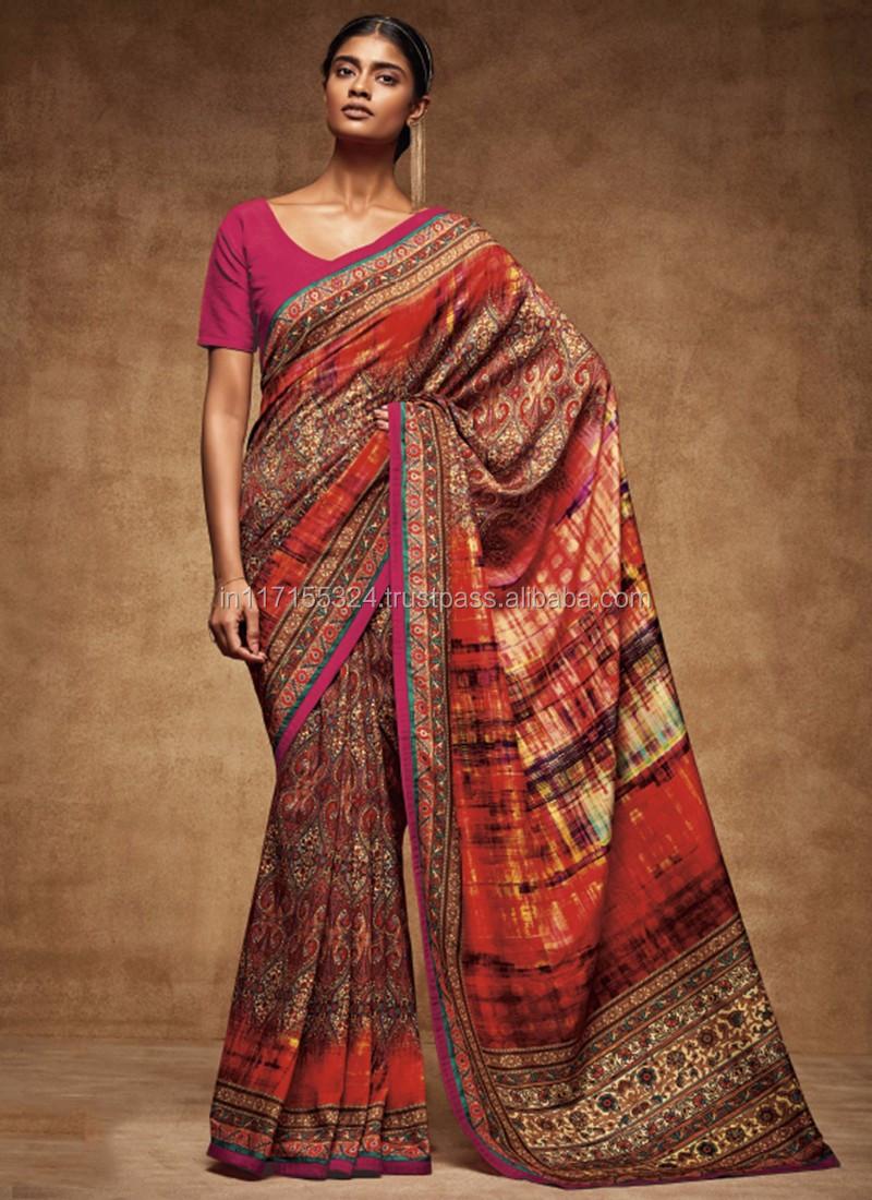 eb9cf213477fb3 Fancy saree blouse designs - Printed Designer Fancy Party wear saree - Indian  saree low prices