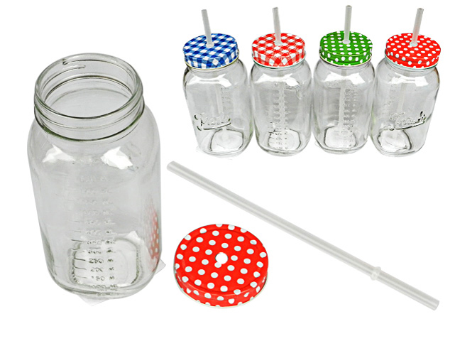 "Mason Jar 750 ml W/paja 3.1 ""D, #15716"