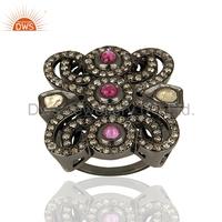 New Design Rhodium Plated Silver Antique Wedding Ring Ruby Gemstone Pave Diamond Ring Jewelry