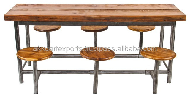 INDUSTRIAL RESTAURANT DINING TABLE SET , HOT SEEING DINING TABLE WITH STOOLS SET