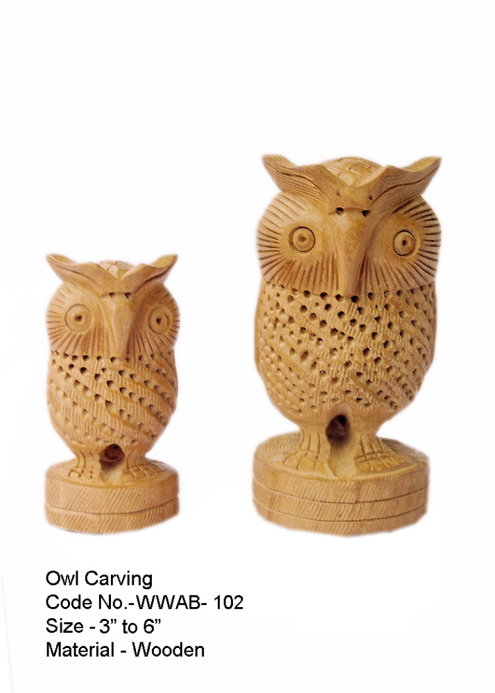 Wood Carved Jali Owl Flat & Round