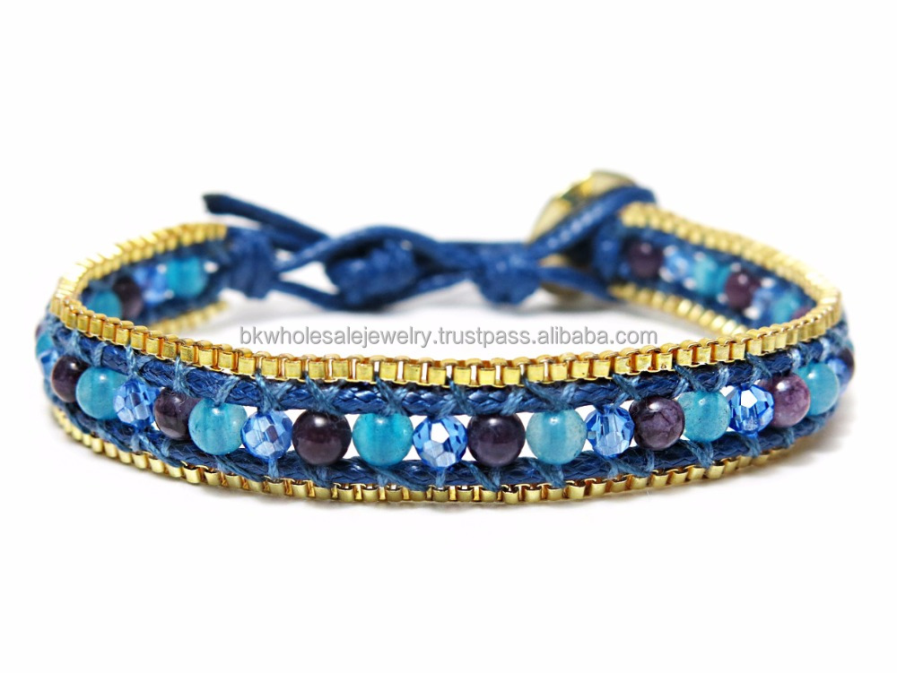 Made in Thailand Products Leather Bracelet Stone Bracelet Blue & Gold Tone Agate Crystal Quartz Bead Bracelet Stone Jewelry