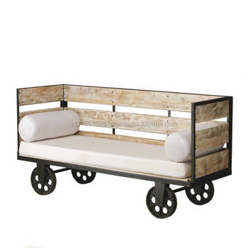 Furniture   French Industrial Style Iron Wood Sofa Bench Furniture