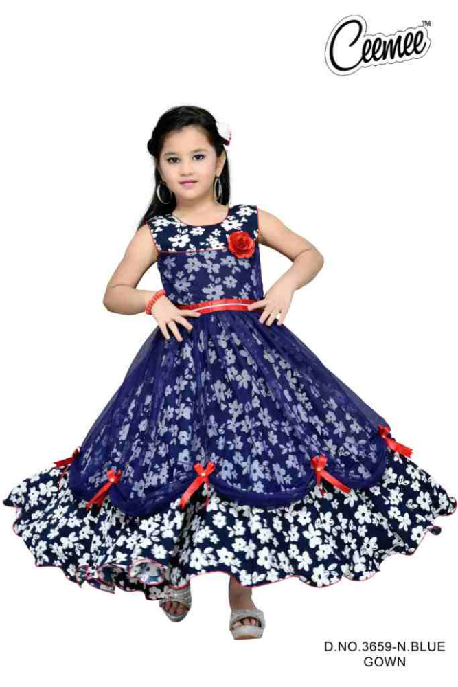 New Blue Color Long girls dress with embroidery