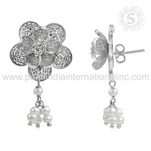 New Arrival Chandelier Dangle Earring With Pearl Gemstone 925 Wholesale Sterling Silver Jewelry Supplier