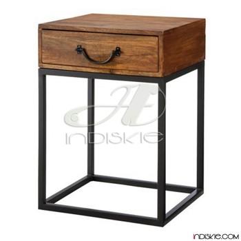 Wooden Bedside Table Teak Wood Nightstand Table Vintage Look Industrial Bed Side Table Buy Vintage Look Industrial Iron Wooden Bed Side Table Wooden