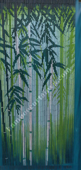 Leaf hand painted beaded bamboo door curtain also room for Hand painted bamboo beaded curtains