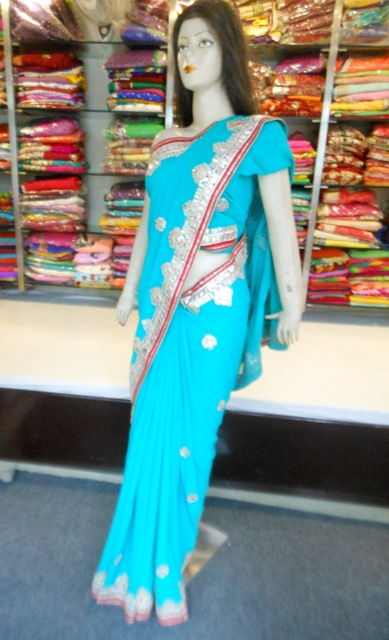 Indian Designer Ethnic Sky Blue Traditional Saree Gota Patti Work Handmade pure Georgette Saree