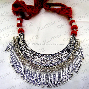 d7fbf7c856 Silver Plated Tribal Art Fashion Chunky Funky Girlish Wear Indian Style  Oxidized Latest Design Statement Silk