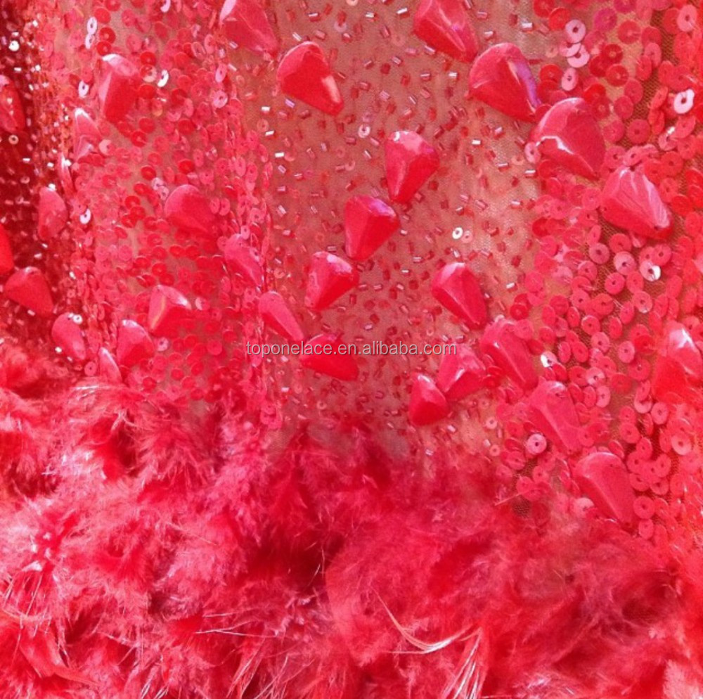 red color handwork sequin lace fabric with feather/ tulle beaded lace fabric wholesale