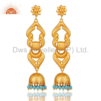 6f702b5d3 South Indian Designer Temple Earrings Yellow Gold Plated 925 Silver Jhumkas Earrings  Manufacturers of Turquoise Gemstone