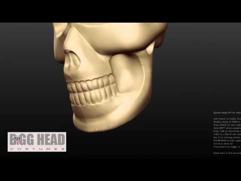 3D sculpt = Bigg Head Styrofoam Skull as Halloween Mask Costume Big Head Masks Costumes )