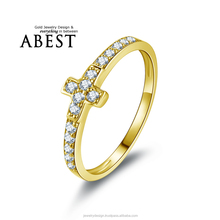 Real 10K Yellow Gold Cross Micro Pave Engagement Wedding Ring Lady's Fashion Jewelry Ring