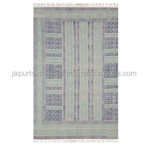 Handmade Indian Carpet Chindi Hand Woven Mat Floor Runner Dari printed 4x6 Ft Carpet Rug