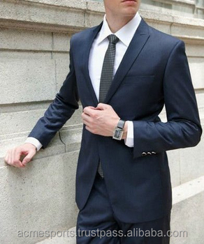 Custom Made Dark Blue Men Suit Bespoke Slim Fit Wedding Groom Tuxedos