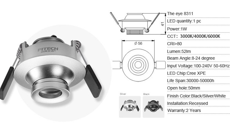 High Quality 1w Mini 12v Led Recessed Light With Focus Zoom For ...