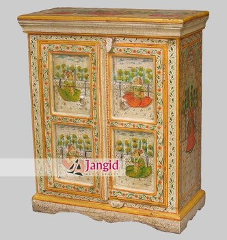 Wooden Mango Wood Hand Painted Painting Cabinet Small Cupboard ...