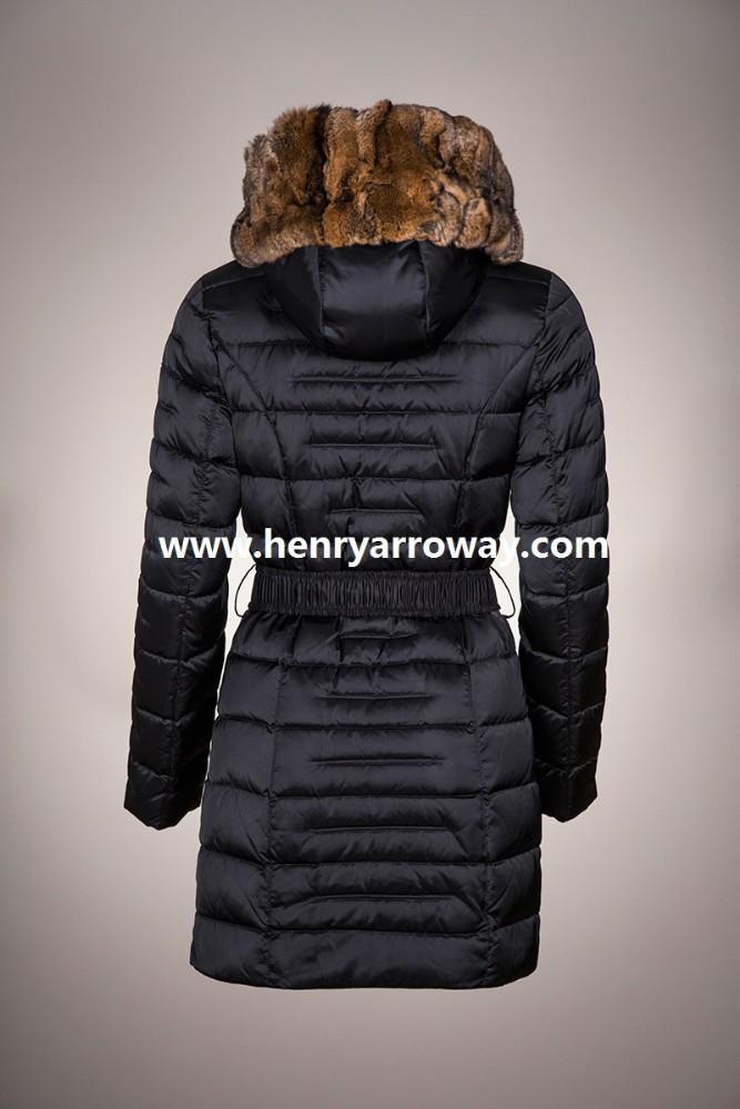 Abrigo largo de pluma para otoño invierno de invierno para mujeres con pelo de orylag en la capucha Henry Arroway España Chamarras y abrigos de