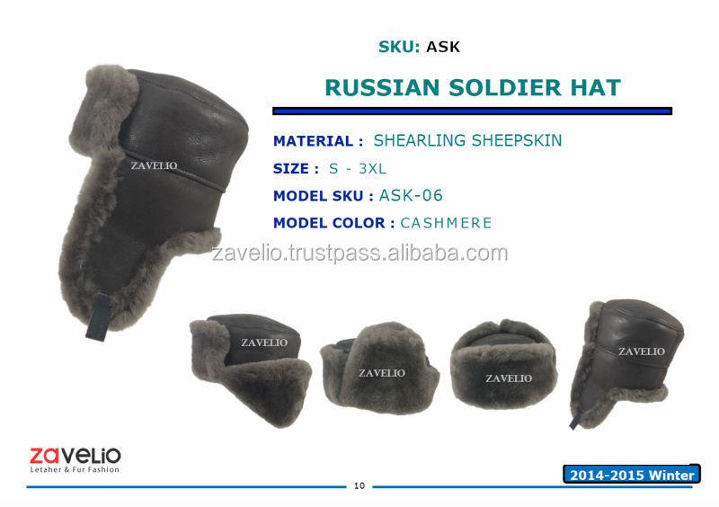 Genuine Shearling Sheepskin Russian Ushanka Soldier