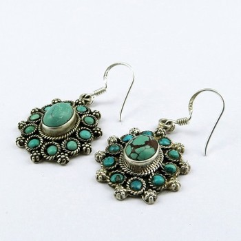 Turquoise 925 Sterling Silver Earring Indian Jewelry Manufacturer
