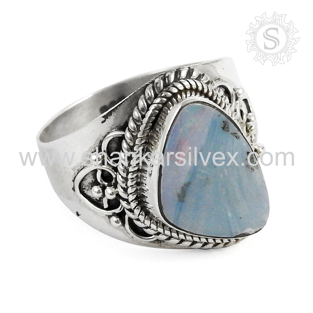 Natural Mexican Opal Ring Gemstone Jewelry Wholesaler Handmade Silver Jewelry Jaipur