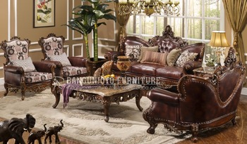 Wooden Hand Carved King Sofa Set Luxury Italian Living Room Home Furniture