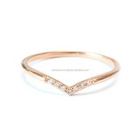 14k Solid Gold Unique Design V Shaped Natural Diamond Ring Fine Jewelry