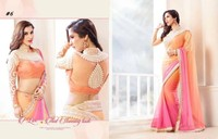 Pink and orange north indian designer saree for daily wear