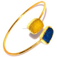 Stylish Yellow & Blue Druzy 24 K Gold Plated Women's Wear Bangle / Bracelets Wholesale Jewelry India ZJ-463