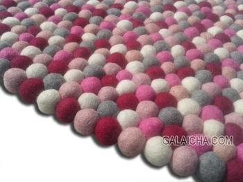 Felt Ball Rug Handmade Nepal Nursery Pebble Pom