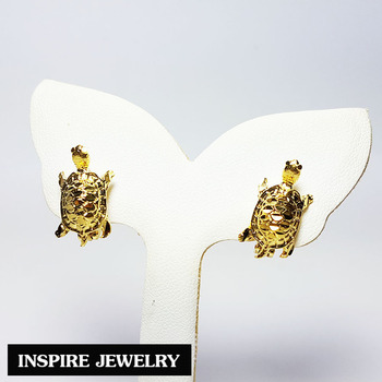 Inspire Jewelry 24k Gold Lucky Turtle Earrings Thai Quality For Hiness And Prosperity