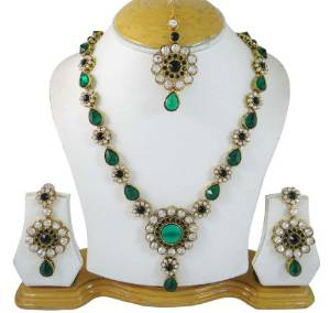 Green Cz Stone Designer Jewellery Rani Haar Necklace Set Wedding