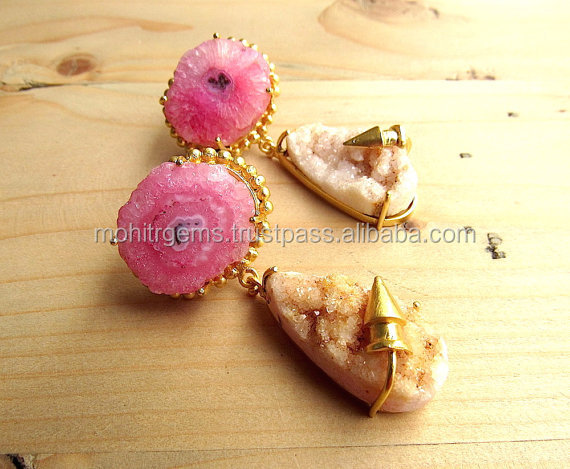 Pink Agate and Light Brown Druzy Earrings with Gold Bullets,Statement ,Gemstone ,Pink Dangle Earrings
