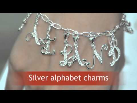 Silver alphabet charms for bracelet. Wholesale letter charms, Thailand supplier