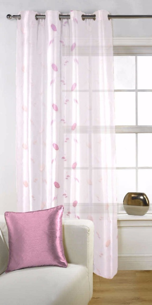 Fabutex Sheer Embroidery 1 Pc door curtains White and Lavender colo (46x84 inches) made with finest threads & finest machineries
