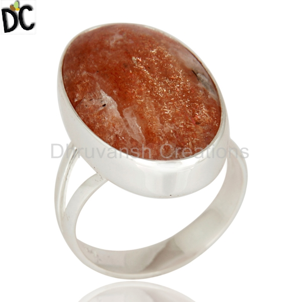 Indian 925 Sterling Fine Silver Ring Natural Sun Stone Gemstone Ring Handmade Fashion Designer Jewelry