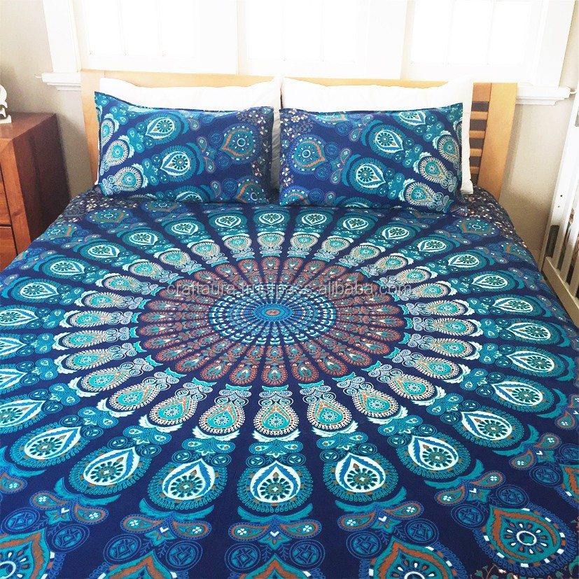 Hippie Indian Duvet Covers Whole Mandala Quilt Doona With Matching Pillowcases