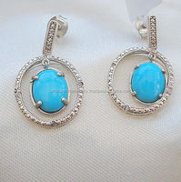 3.05ct Arizona Sleeping Beauty Turquoise & Diamond Hoop Drop Earrings