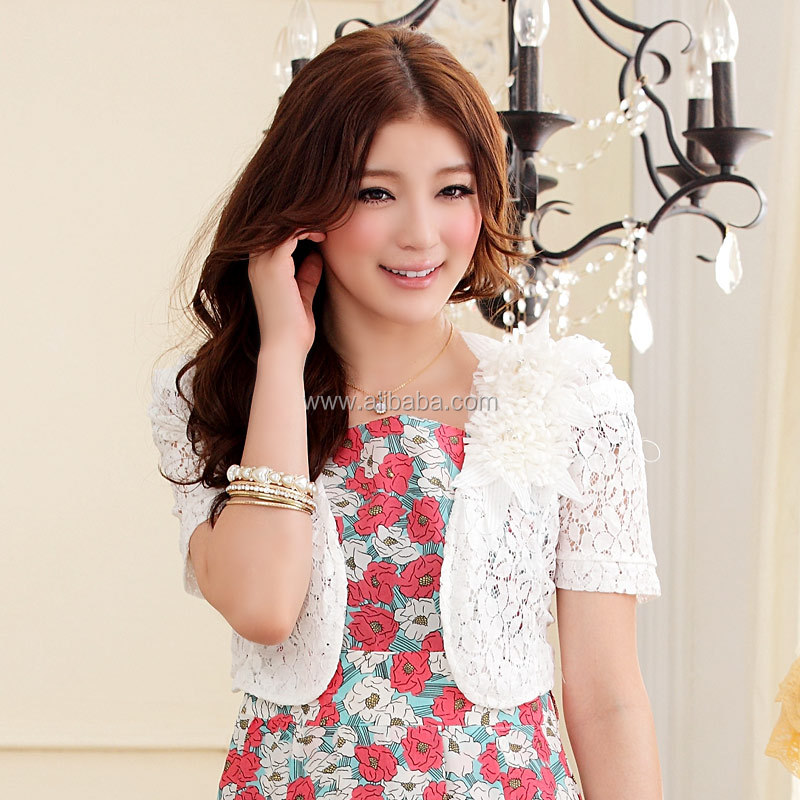 Women Ladies White Lace Embroidery Flower Short Sleeve Cropped ...