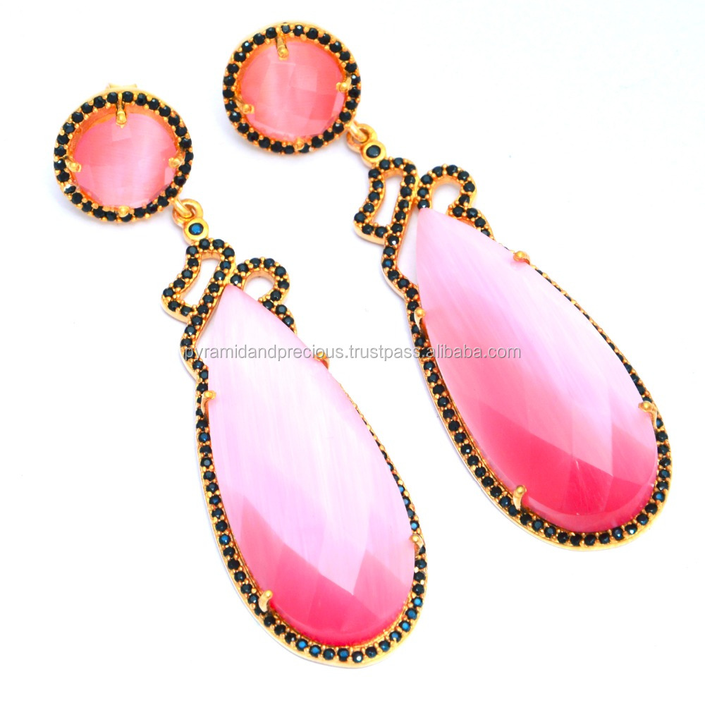 Beautiful Pink Cream Chalcedony Gemstone Black Pave CZ Set Earring - Pear Shape Gemstone Earring