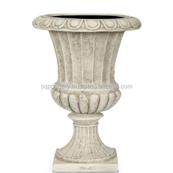 French Fiberglass Cement Tall Garden Flower Urn (set Of 3)