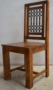 Solid Mango Wood Iron Jali Chair
