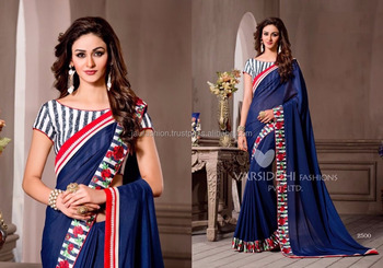 Teal Crushed Silk Georgette Saree Machine Embroidery Designs Of