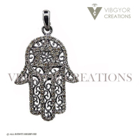 Filigree hamsa hand jewelry 925 sterling silver pave diamond finding pendant