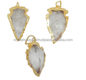 Clear Quartz Arrowheads Gold Electroplated Pendants : Wholesale Agate Arrowheads : Indian Agate Arrowheads : Crystals Supply
