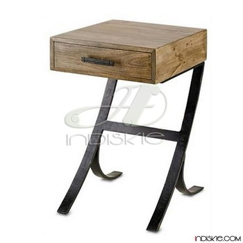 Wooden Bedside Table Mango Wood Nightstand Table Vintage