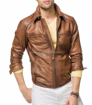 Real Tan Brown Leather Jacket Made In Pakistan Buy Pakistan Men S